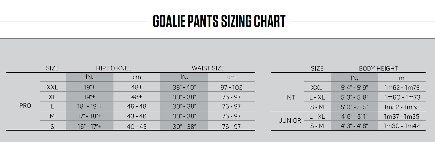 goalie pants sizing chart warrior