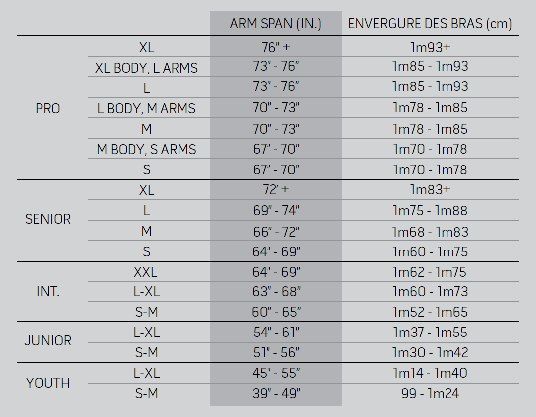 Goalie Chest Arm Size Chart Warrior