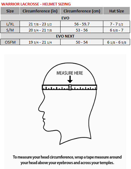 Warrior Lacrosse Helmet Size Chart – Warrior