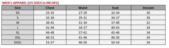 Men's Apparel Size Chart – Warrior